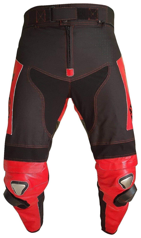 colore Nero//Rosso nero//rosso, XS completa di protezioni CE Tuta da MOTO per adulto in pelle e tessuto Taglie XS divisibile in 2 pezzi giacca e pantalone regolabile 4XL BIESSE