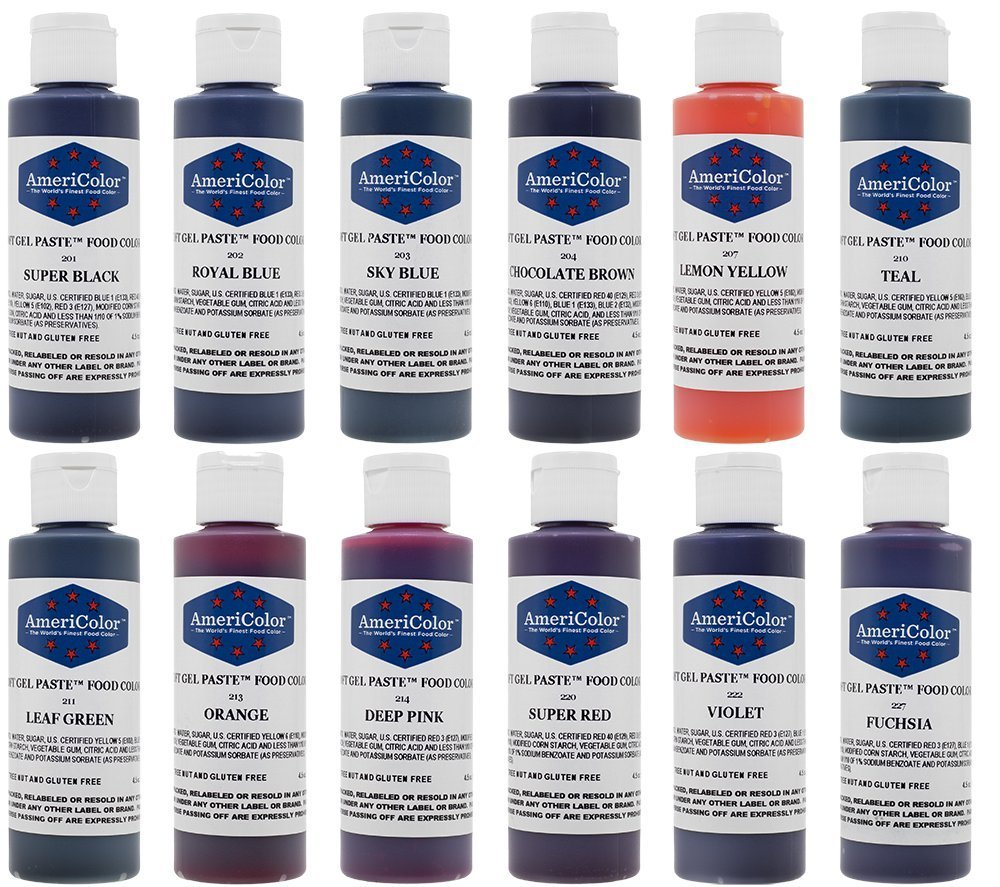 AmeriColor 12 Color Variety - Kit, Soft Gel Paste Food Coloring, 4.5 Ounce  Bottles.
