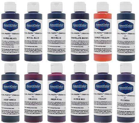 Amazon.com: AmeriColor 12 Color Variety - Kit, Soft Gel Paste Food ...