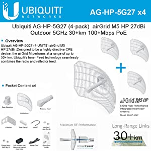 Ubiquiti 4-PACK airGrid M5 HP 27dBi AG-HP-5G27 Outdoor 5GHz 30+km 100+Mbps PoE