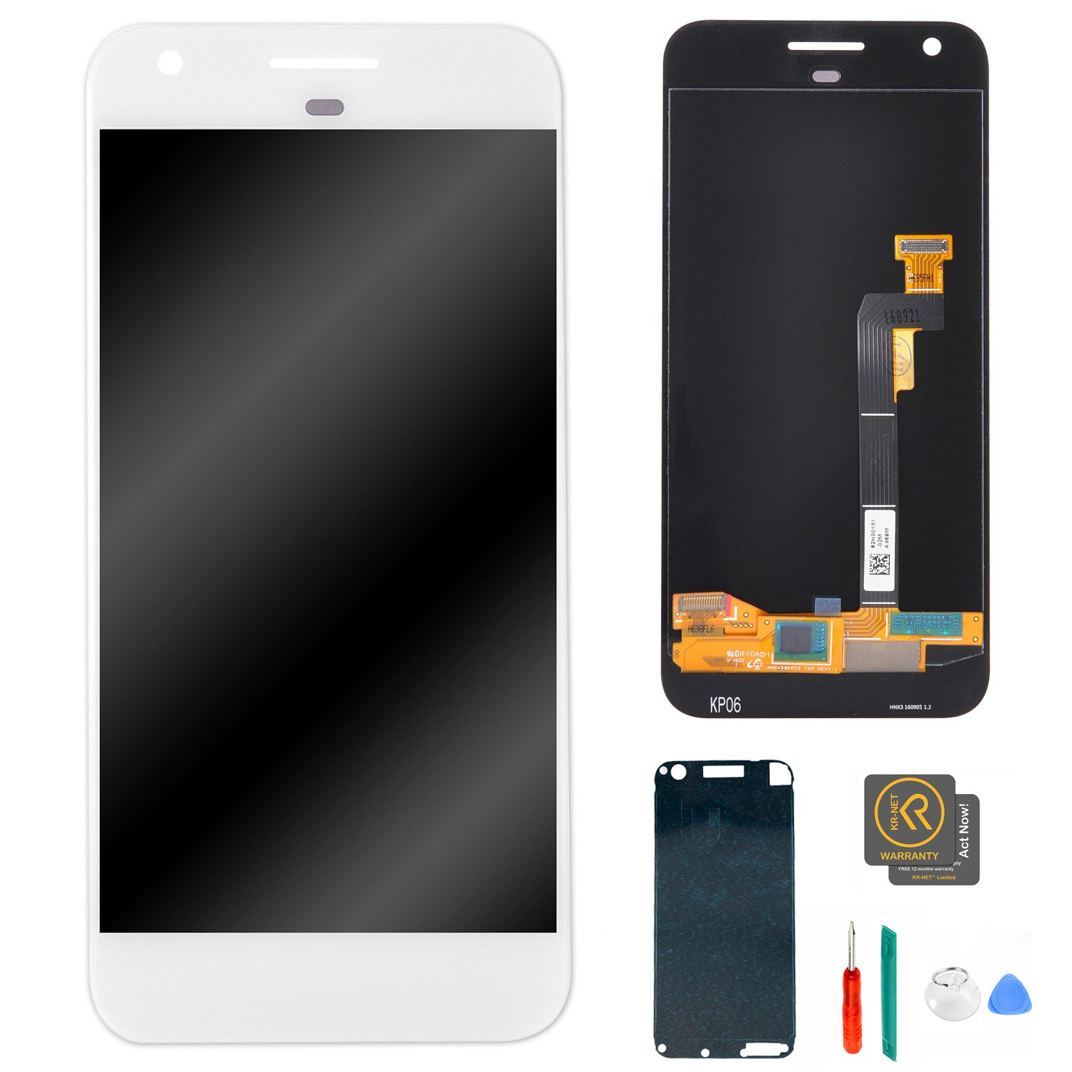 KR-NET 5'' LCD Display Touch Screen Digitizer Assembly for Google Pixel (Very Silver), with Precut LCD adhesive +Tools
