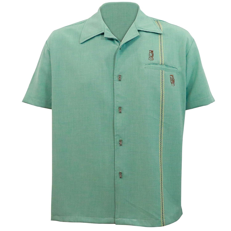 Vintage Mens Clothing | Retro Clothing for Men Steady Clothing Mens Tiki Retro Stitch Button Up Bowling Shirt Light Teal $50.99 AT vintagedancer.com