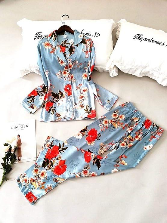 Pijamas Saten Mujer Manga Larga Set,Pijamas De Satén De Seda Para Mujeres Camisas Y Pantalones De Manga Larga Con Estampado Floral 2 Piezas Conjuntos De Pijamas Ropa De Dormir Informal Para Niñas