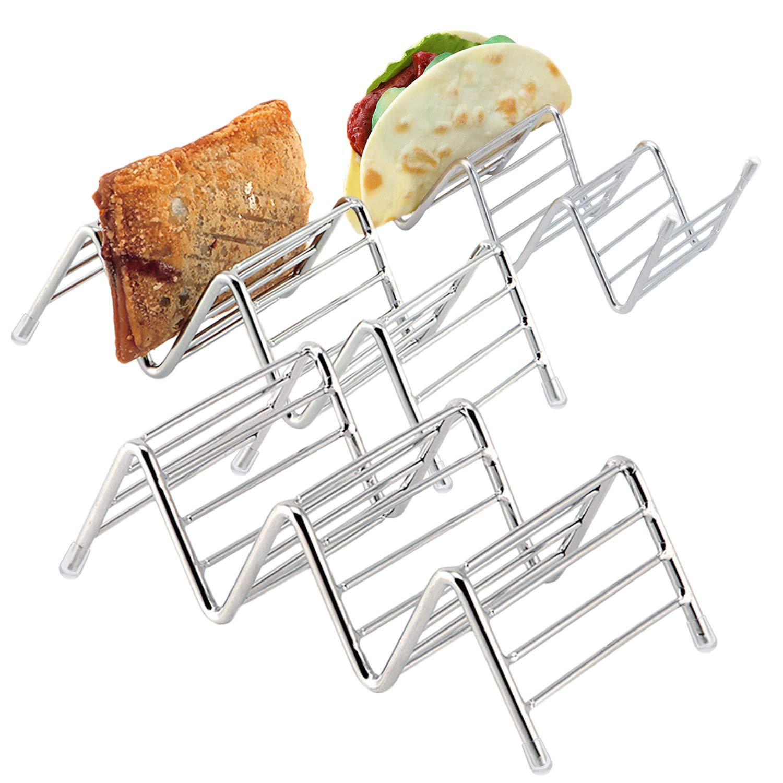 Kalevel 3 Pack Taco Holder Oven Safe Taco Rack Stainless Steel Taco Tray Mini Wave Shape Holder
