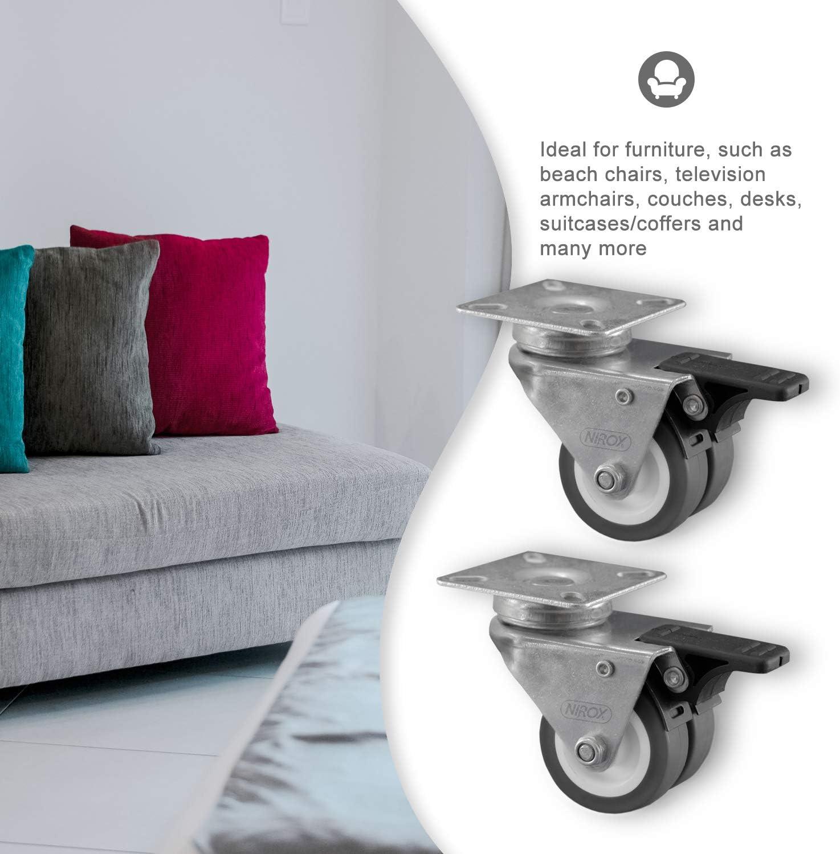 Muebles papel de goma gris 50 mm duro papel de suelo con freno para pequeñas laminado placa