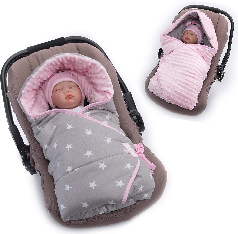 Manta envolvente color azul rosa Talla:0-6 meses dise/ño de estrellas Sevira Kids