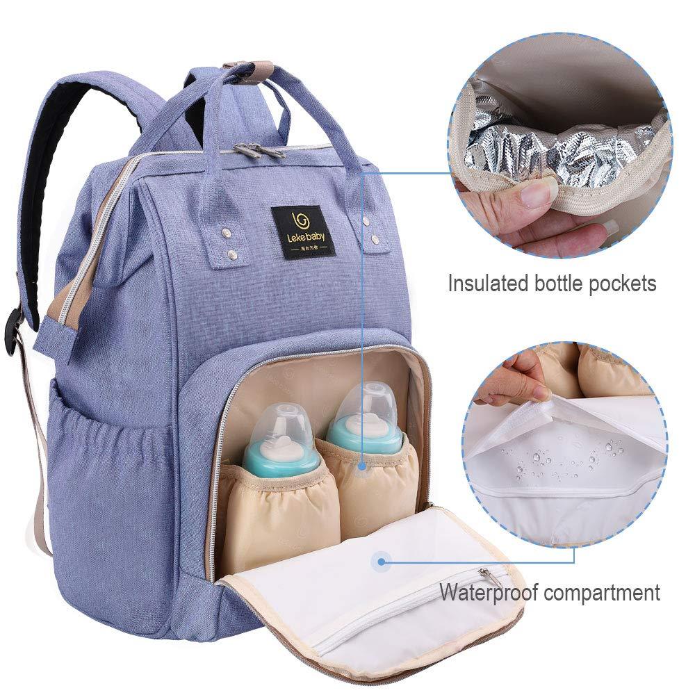 Lekebaby Baby Wickelrucksack Wickeltasche mit Wickelunterlage Multifunktional Babytasche Reisetasche f/ür Unterwegs
