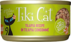 Tiki Cat Luau Grain-Free, Low-Carbohydrate Wet Food with Poultry or Fish in Consomme for Adult Cats & Kittens, 2.8oz, 12pk, Tilapia