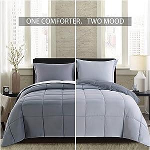 Homelike Moment Lightweight Comforter Set - Queen Gray All Season Down Alternative Comforter Set Summer Duvet Insert 3 Piece - 1 Comforter with 2 Shams Reversible Full/Queen Size Dark Gray/Light Grey
