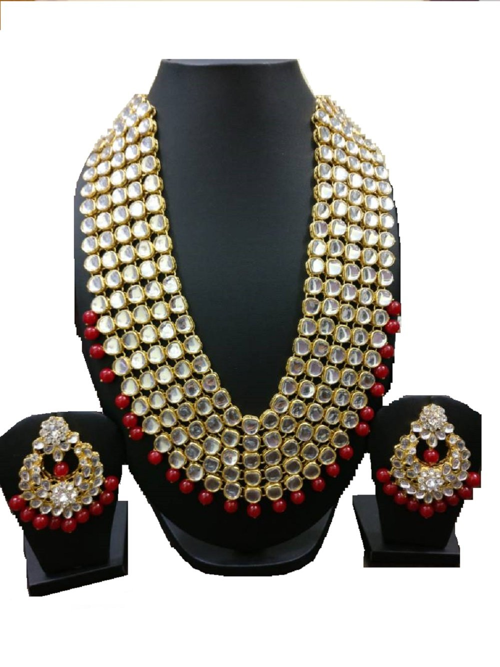 VVS Jewellers Exclusive Bollywood Style Red Pearls Gold Plated Shining Kundan Wedding Bridal Necklace Set by VVS Jewellers