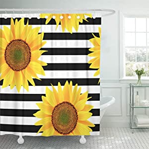 """Emvency 66""""x72"""" Shower Curtain Waterproof Home Decor Brown Bright Sunflowers On Striped Black and White Pattern Orange Sun Beautiful Picture Print Polyester Fabric Adjustable Hook Set"""