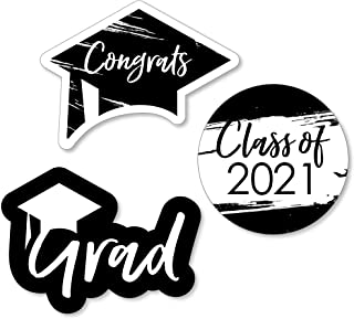 product image for Big Dot of Happiness Black and White Grad - Best is Yet to Come - DIY Shaped Black and White 2021 Graduation Party Cut-Outs - 24 Count