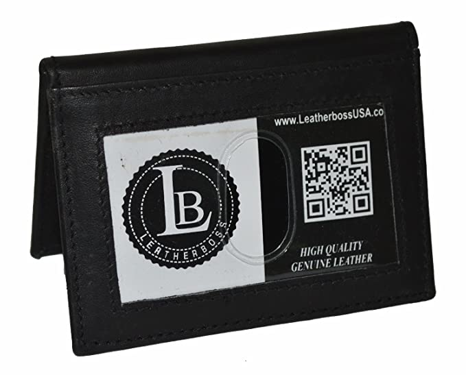 37fb06ae4449 LeatherBoss Small Credit Card Holder Wallet With Outside ID