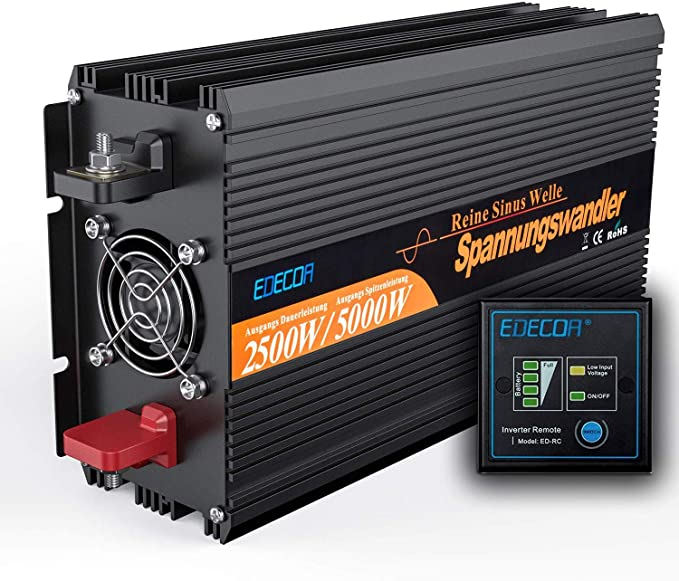 EDECOA convertidor 12v 220v onda pura 2500w y pico de 5000w ...