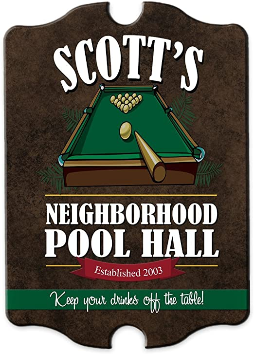 PERSONALISED GAMES ROOM SIGN POOL ROOM SIGN POOL CUE SNOOKER CUE YOU CHOOSE NAME