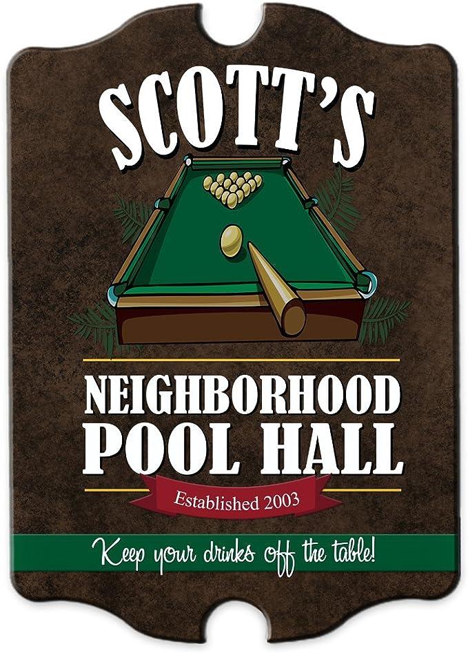 Personalizado piscina salón/sala de juegos madera Man Cave cartel ...