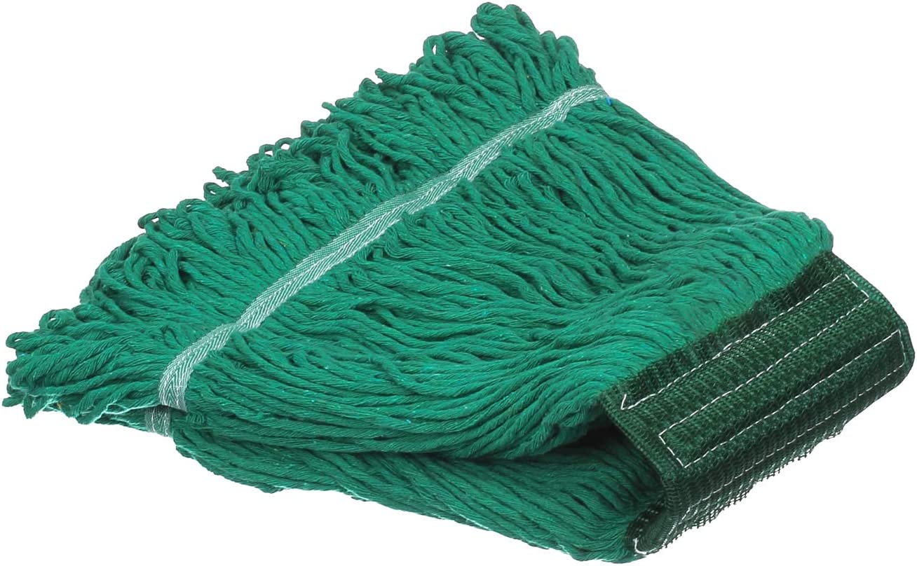 KLHB-YF Looped End Wet Mop Head,Commercial Mop Head–Cotton String Mop Replacement Head,6 Inch Universal Headband, Mop Head Replacement for Home, Industrial and Commercial Use-Green(1 Pack)