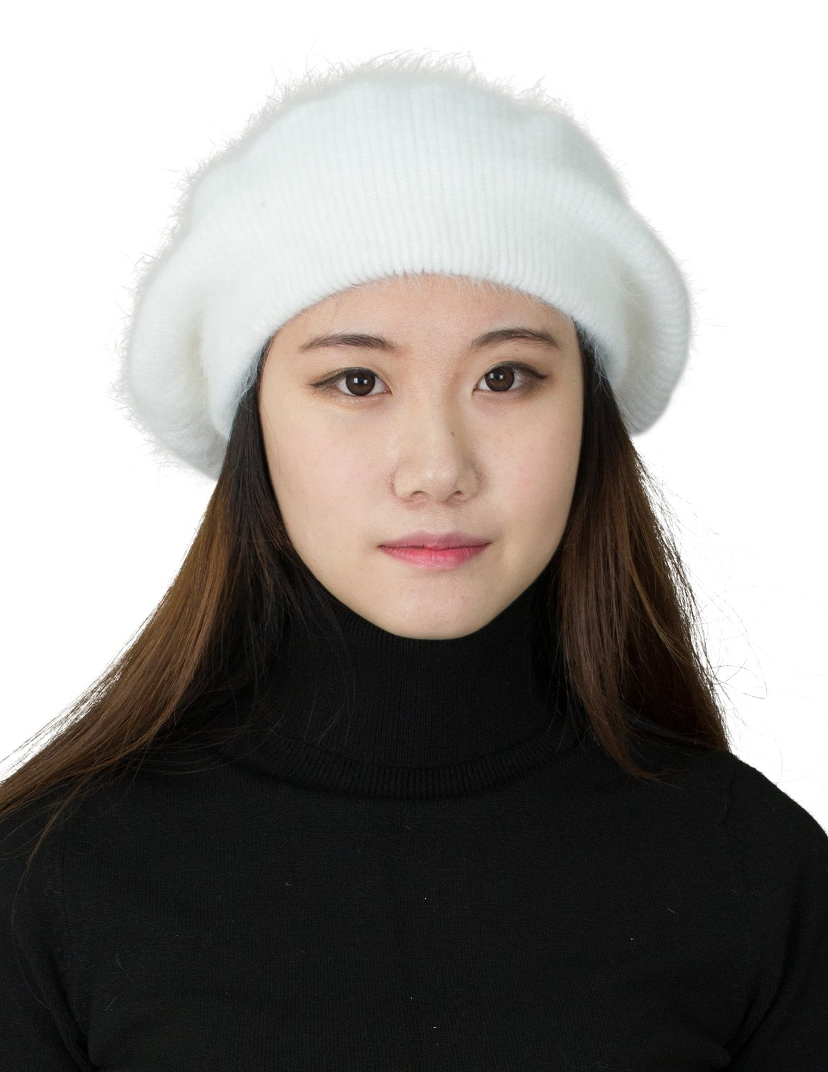 CapHouse Fine Ribbed Womens Angora Knit Winter Beanie Hat,Cream by CapHouse (Image #3)