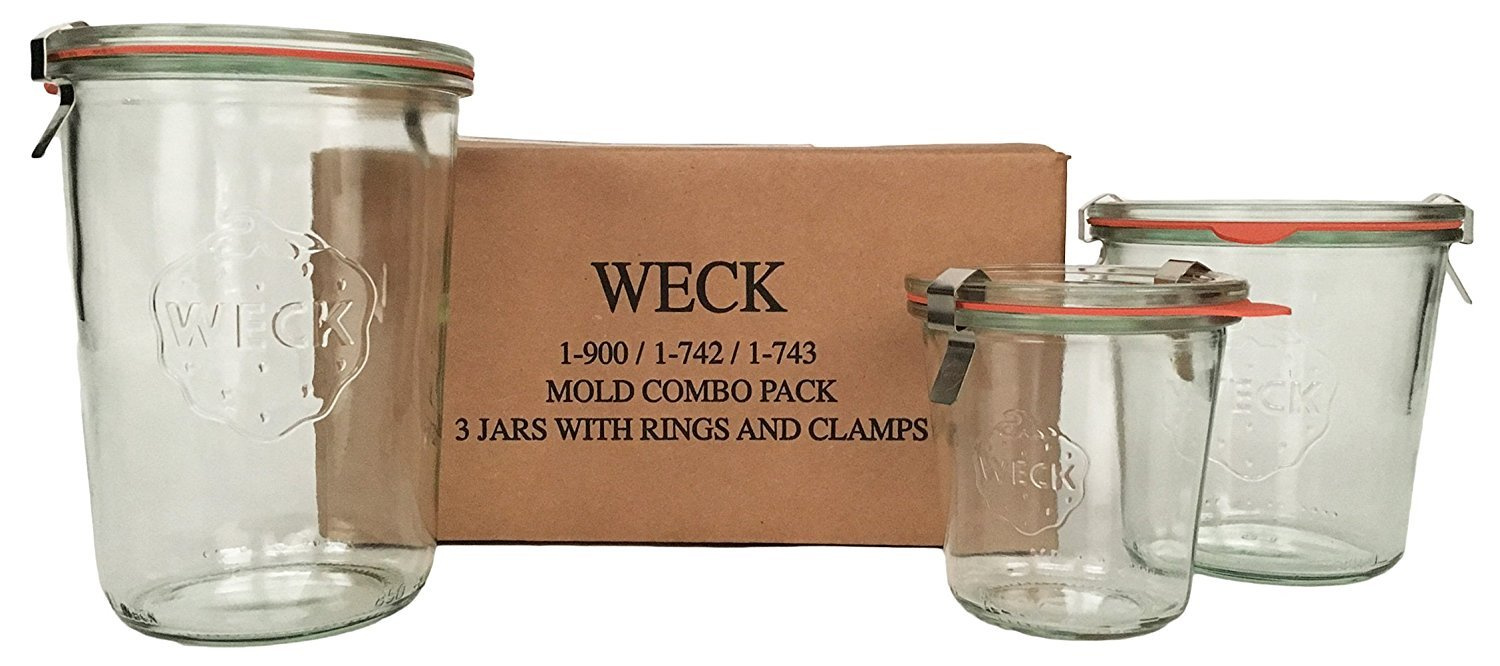 WECK Mold Jar Combo Pack- (1) 900, (1) 742, (1) 743, (3) glass lids, (3) rubber rings and (6) clamps SYNCHKG118792