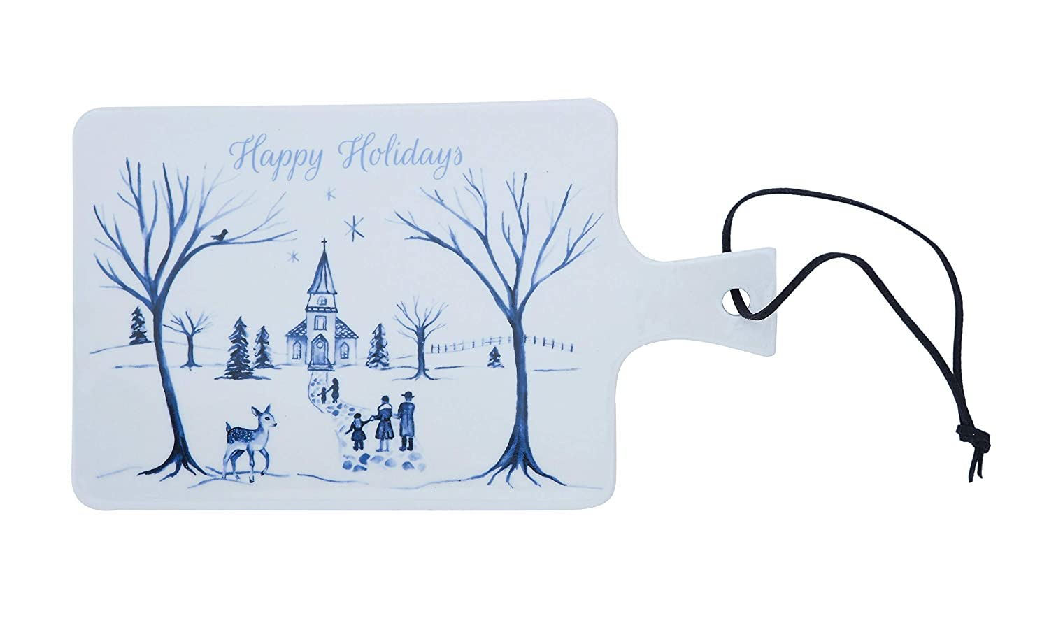 Creative Co-Op 9 Inch Happy Holidays Stoneware Cheese Board with Leather Tie