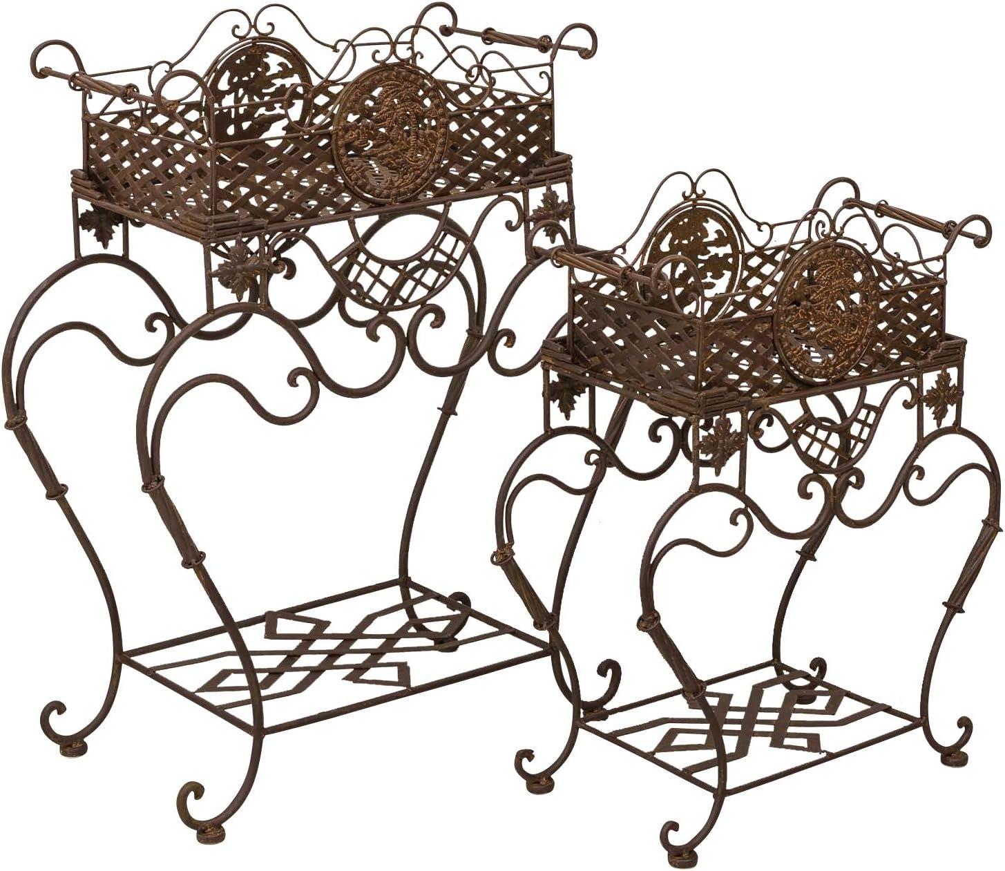 Pareja caja de flores macetas jardín hierro estilo antiguo blanco cama levantada