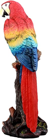 Ebros Gift Beautiful Tropical Rainforest Paradise Bird Scarlet Macaw Parrot Statue Perching On Tree Branch Decorative Figurine 13 75 Tall Home Kitchen Amazon Com