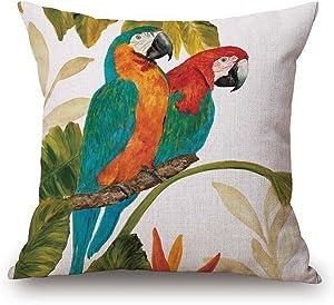JES&MEDIS Home Cotton Linen Decorative Square Throw Pillowcase Cute Birds Cartoon Patten Cushion Pillows Cover,18