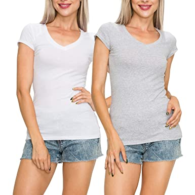2f3f6918eb7 EttelLut Casual Basic Plain Short Sleeve Cotton V Neck Plain White t Shirts  Women White H