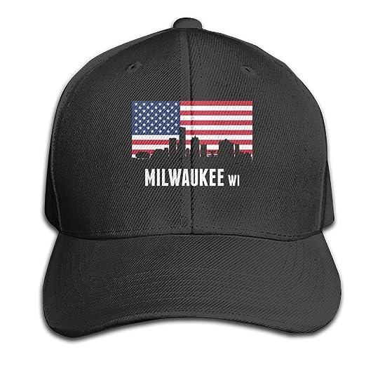 b6b0375c41488 Amazon.com  American Flag Milwaukee Pure Color Peaked Cap Trucker ...