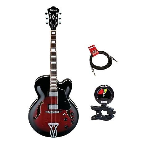Ibanez af75trs guitarra eléctrica cuerpo hueco en caoba con clip On Sintonizador y Strukture 10 ft