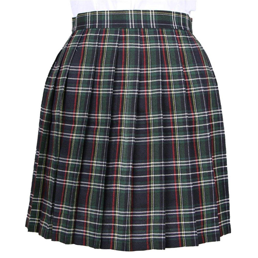 TALLA S. OCHENTA Mujeres Falda Escocesa Plisada con Cintura Escuela Uniforme Falda Cuadros
