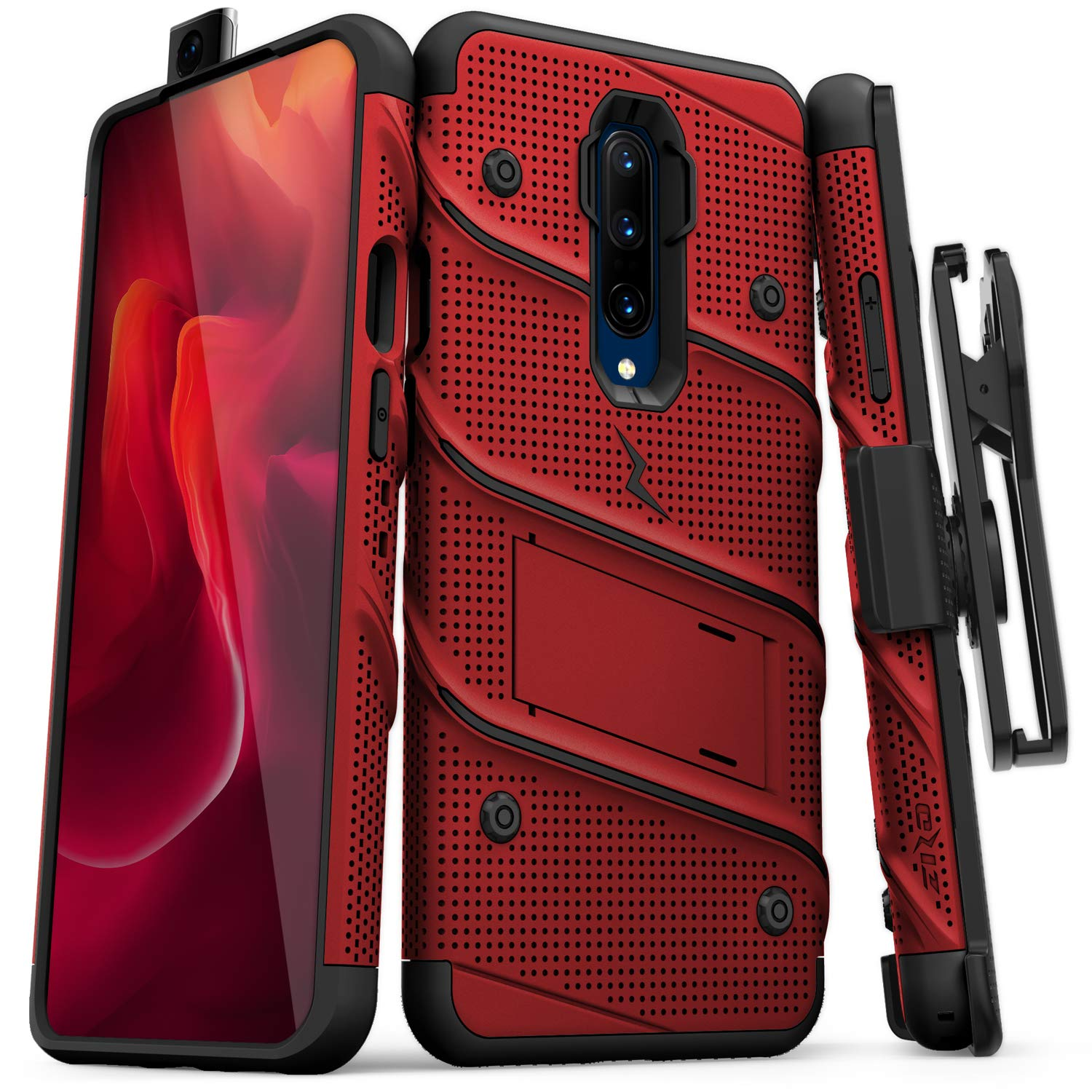 ZIZO Bolt Heavy-Duty OnePlus 7 Pro Case | Military-Grade Drop Protection w/Kickstand Bundle Includes Belt Clip Holster + Lanyard Red Black