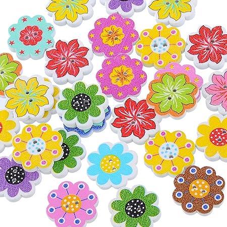 AkoMatial Wooden Buttons Crafts, 50 Pcs DIY Octagonal Flower Floral Print Buttons Scrapbooking Sewing Accessories