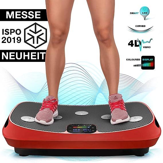 Messe-Neuheit 2019! 4D Vibrationsplatte VP400 mit einmaligen Curved Design, Color Touch Display, Riesige Fläche, Smart LED Te