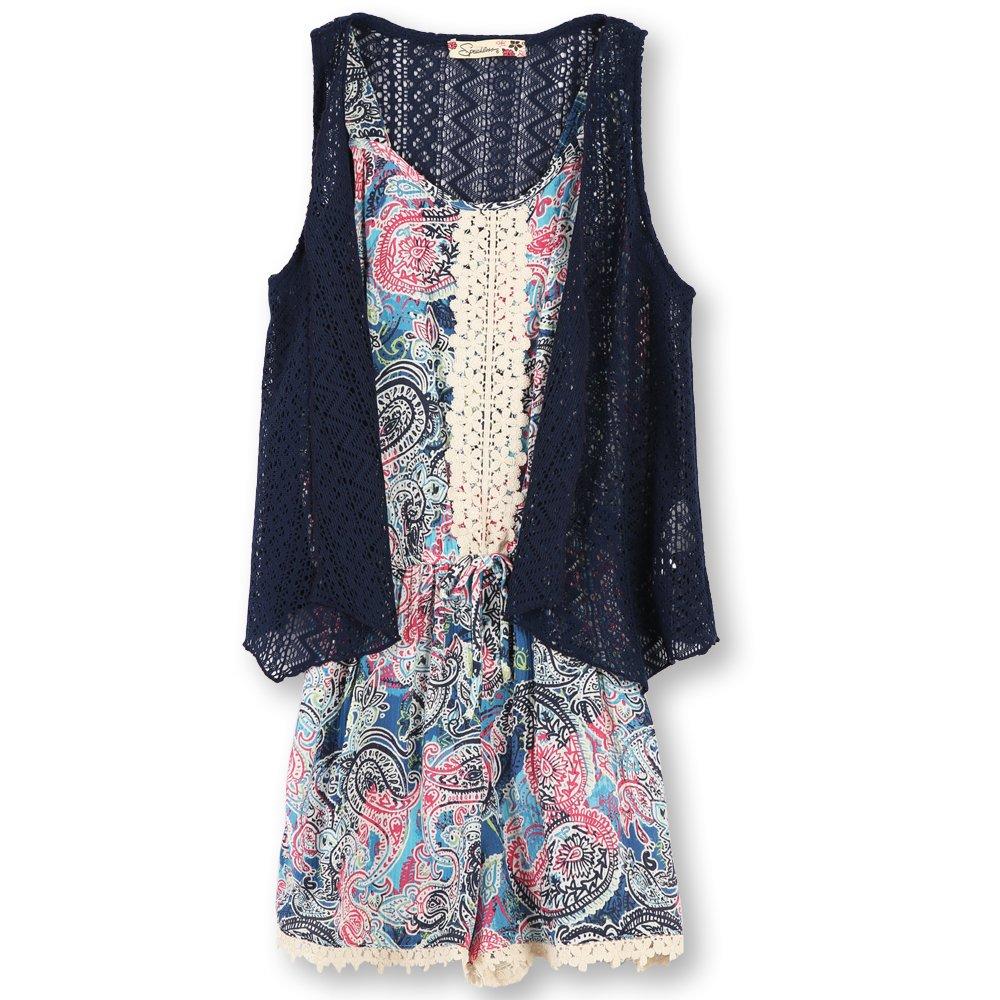 f1617602f7d Amazon.com  Speechless Big Girls  2 Piece Printed Chiffon Romper with Vest   Clothing