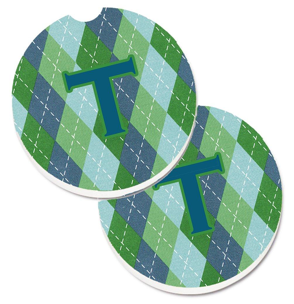 Multicolor 2.56 Carolines Treasures Initial T Monogram Blue Argoyle Set of 2 Cup Holder Car Coasters CJ1020-TCARC