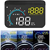 Car Hud Display,ACECAR Upgrade Head Up Display Dual Mode OBD2/GPS Windshield Projector with Speed,Digital Clock,Overspeed War