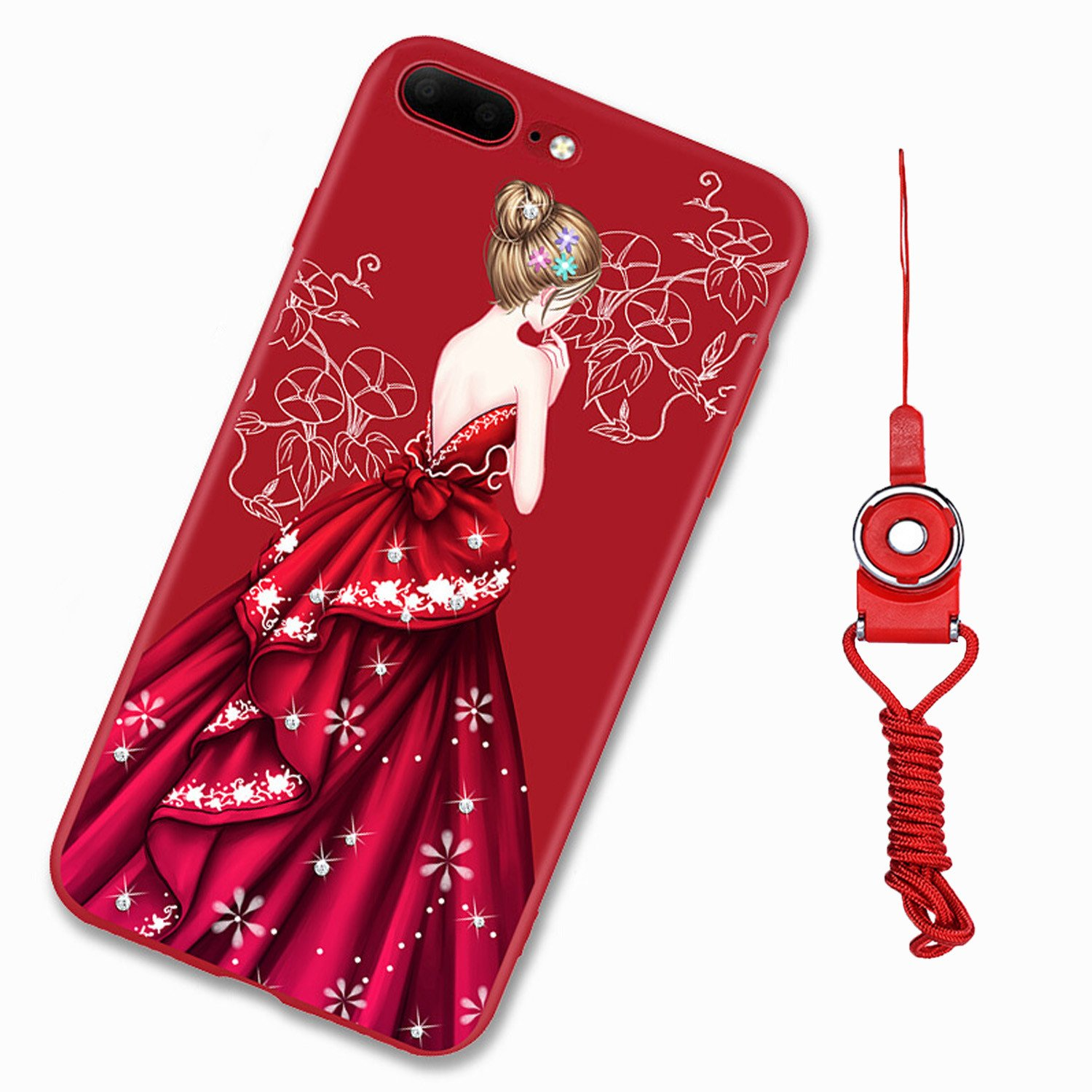 For iPhone 7 Plus Case, iPhone 8 Plus Case, GIZEE Glitter Cute Phone Case Girl In Dress Pattern Ultra Thin Slim Fit Soft TPU Protective Bumper Cover Red for Apple iPhone 7/8 Plus 5.5 Inch - Style 1