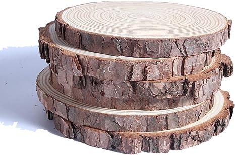 6-12-Inch Rustic Wood Tree Slice with Bark