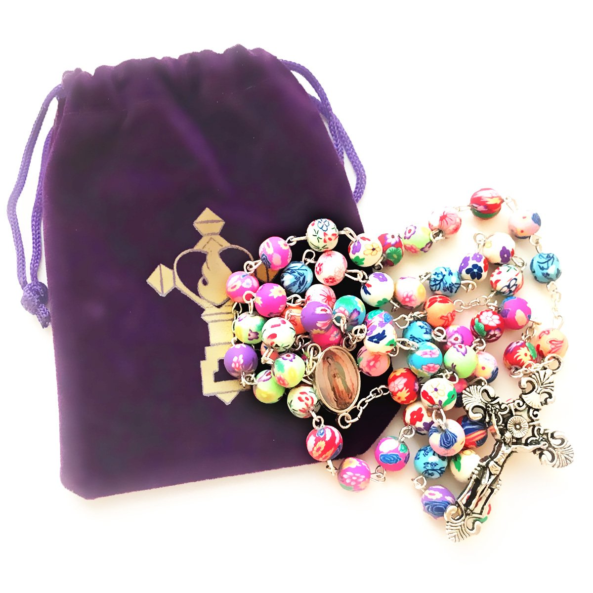 Rosary Beads Necklace For Women or Men - Catholic Girls or Boys First Holy Communion Gift - Guadalupe Virgin Mary Colorful Rosary with FREE Velvet Pouch