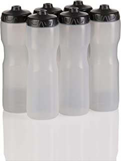 product image for 50 Strong Brand Jet Stream Sports Squeeze Water Bottle with One-Way Valve - Team Pack – Set of 6 Leak Proof Squirt Waterbottles - 28 Ounces -Perfect for Bikes - Made in USA (Clear)