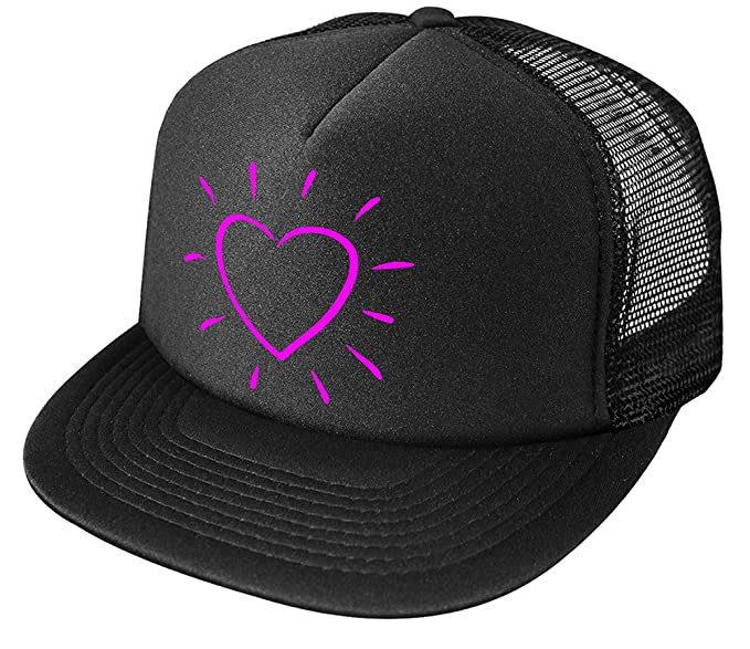 Joe s USA Screenprint Heart Logo Poly-Foam Snapback Trucker Hat-OS-Black  aa00893f9669
