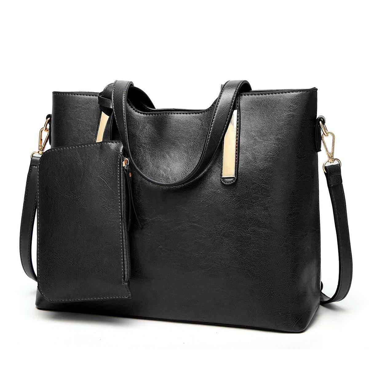 Women Top Handle Satchel Purses and Handbags Shoulder Tote Bags Wallet Sets QIN LX (black)