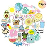 Stickers for Water Bottles, Waterproof Trendy Cute Aesthetic Vinyl Graffiti Stickers - Laptop and Water Bottle Decals Sticker Pack for Girls Teens Women (35 Pcs)