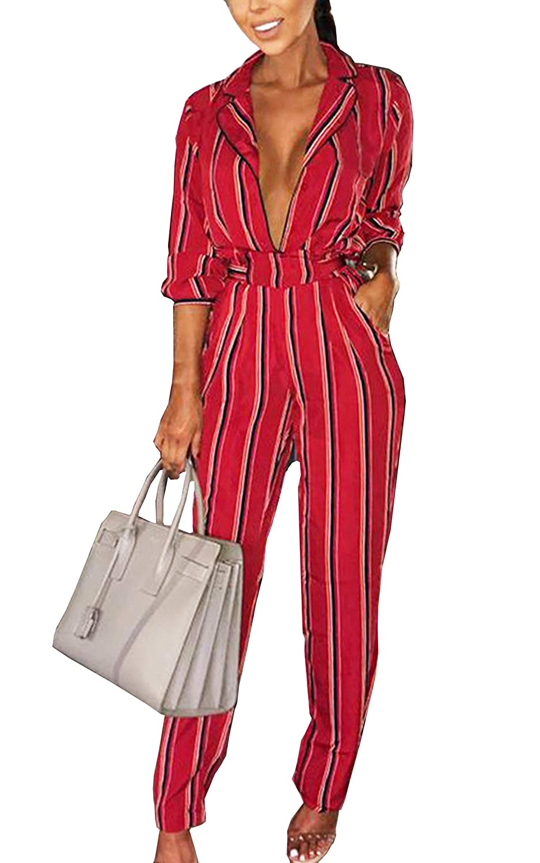 643cbe665310 ECOWISH Womens Stripe Printed Tie Waist Jumpsuits 3 4 Sleeve Casual Jumpsuit  Rompers EH858