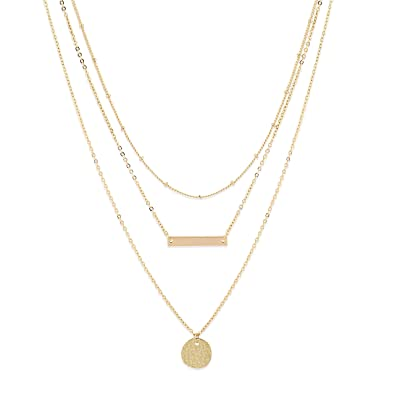 36b7170d992 LOYATA Bohemia Layered Necklace, 14K Gold Plated Bar Coin Charm Pendant  Neckalce Delicate Station Chain