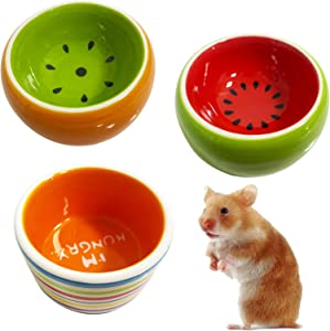kathson Hamster Bowl Ceramic Small Animal Water Bowl Prevent Tipping Moving and Chewing Food Dish for Guinea Pig Gerbil Ferret Syrian Hamster Chinchilla Rat Hedgehog Bunny (3 Pcs)
