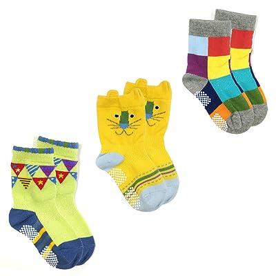 Allydrew Animal Non-Skid Toddler Socks Set of 3, Lion (Small)