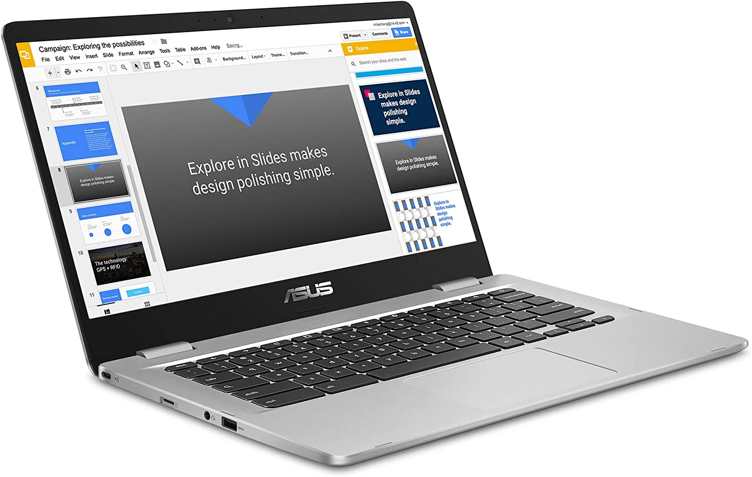 2019 ASUS Chromebook 14 FHD 1080P Display with Intel Dual Core Celeron Processor N3350, 4GB RAM, 32GB eMMc SSD Storage, Webcam, 802.11AC WiFi, Bluetooth, USB3.1 Type-C, Google Chrome OS-Silver