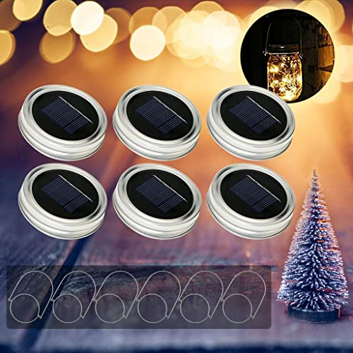 6PCS Mason jar Light Solar Led Glass Outdoor Lantern, Integrated Solar Panel and LEDs for Lighting Solar Outdoor Lights Chain String Lantern Decoration for Home Party Garden Wedding